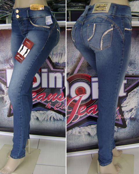 cbb91b6fe1 Calças Jeans Levanta Modela Bumbum C Bojo Strass Sawary Tm.40 - Cód ...